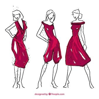 Models illustrations with elegant dress