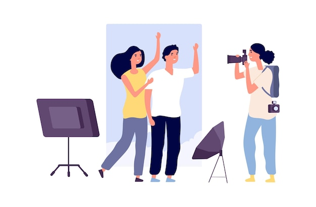 Models and photographer. professional photo session with cute man woman flat characters. happy couple vector illustration. professional photographer with camera, woman take photo session