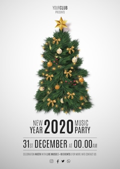 Moden merry christmas party flyer with realistic christmas tree