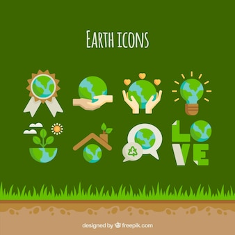 Moder earth gloves vector set