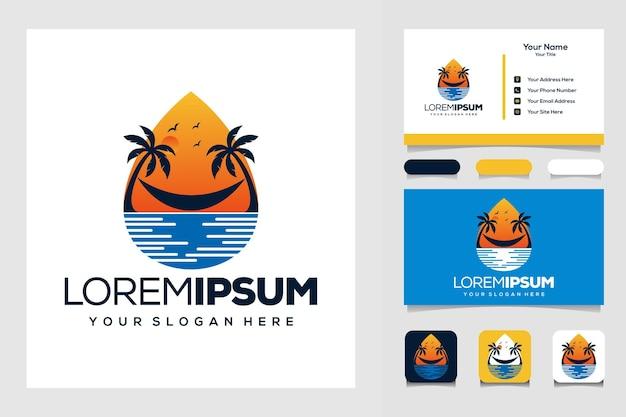 모더 팜 여름 태양과 바다 로고 디자인