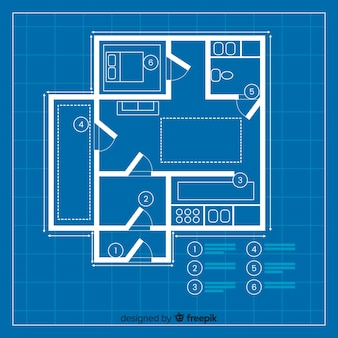 Moder plan of blueprint of a house