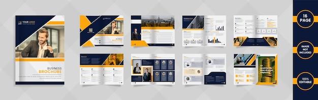 深い青と黄色の抽象的な形と情報を備えたモダンな16ページの会社パンフレットデザイン。