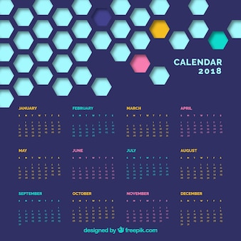 Современный календарь с шестиугольными фигурами