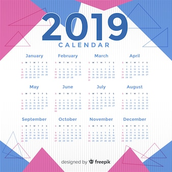 Modern 2019 calendar template with abstract shapes