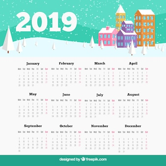Modern 2019 calendar template with flat design
