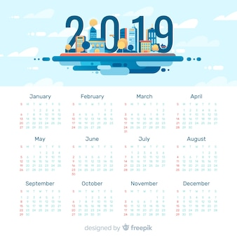 Modern 2019 calendar template with flat design