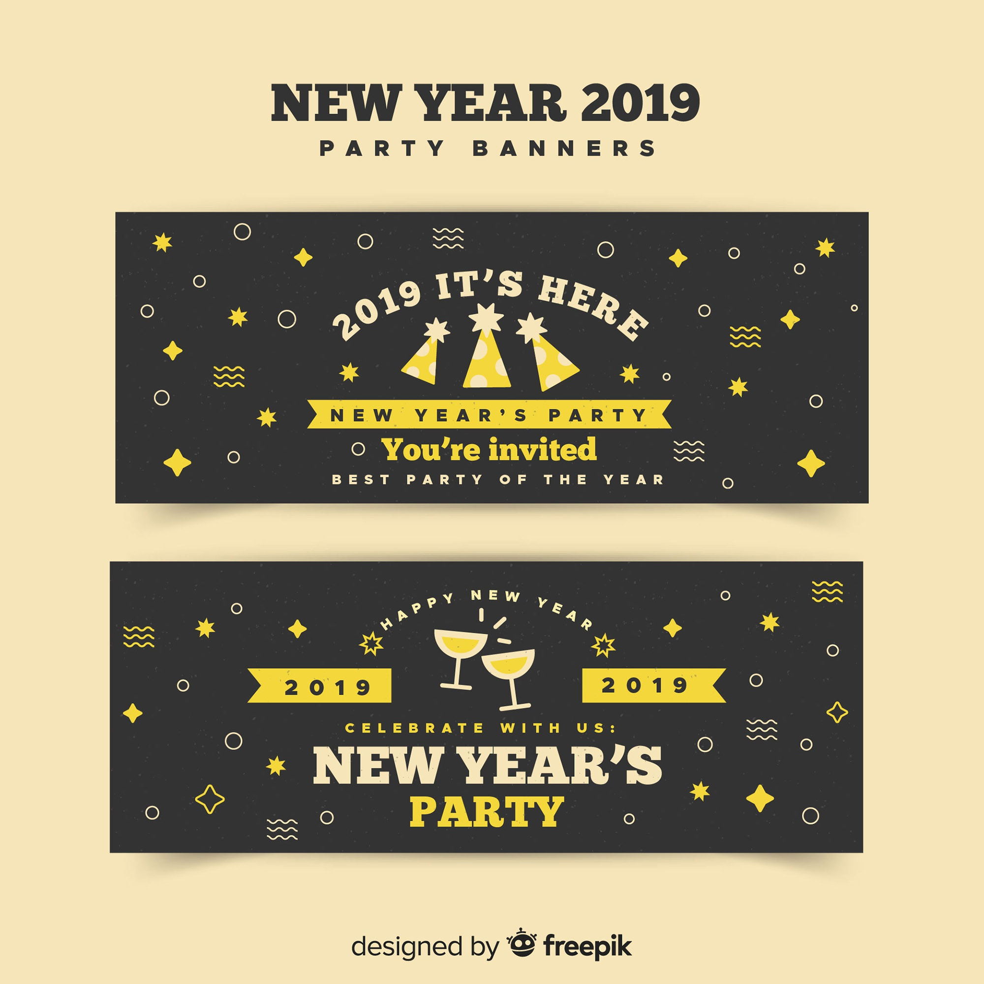Modern 2019 new year party banners with flat design