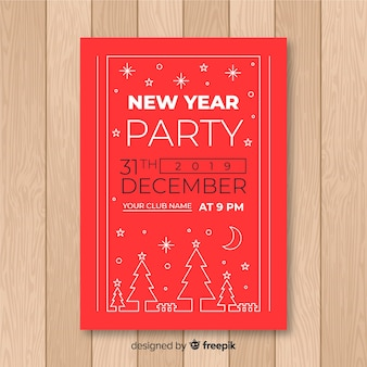 Modern 2019 new year party poster