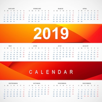 Modern 2019 red calendar template with wave vector