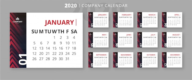 Modern 2020 business calendar template