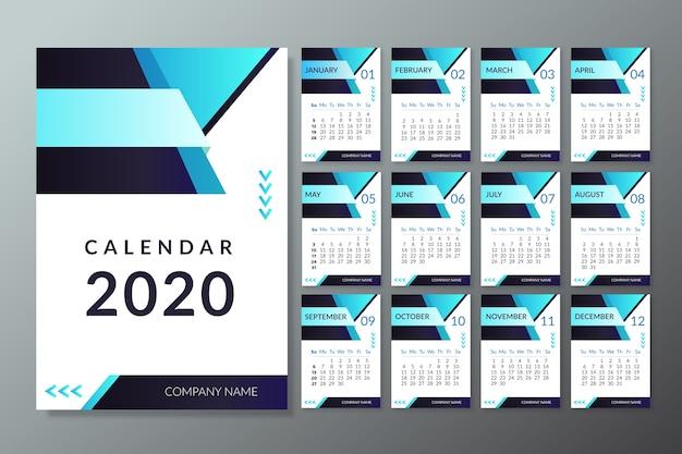 モダン2020カレンダーテンプレート