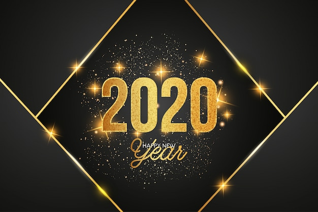 Modern 2020 celebration background with golden shapes