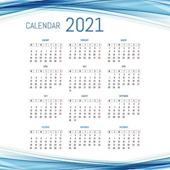 波の背景を持つモダンな2021年カレンダーレイアウトテンプレート