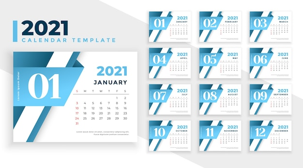 Design moderno del calendario del nuovo anno 2021 in stile business