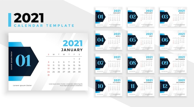 Modern 2021 new year calendar template