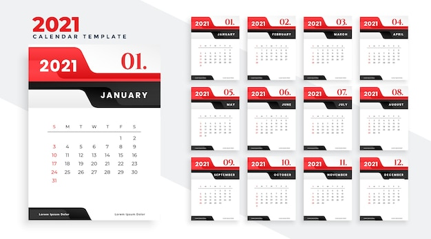 Modern 2021 red new year calendar design template