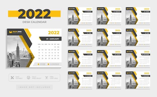 Современный шаблон дизайна настольного календаря 2022 года