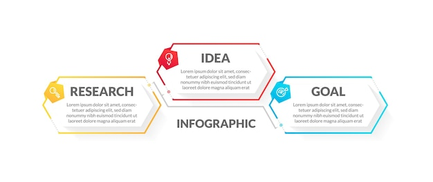 Modern 3 step infographic with flat colorful style. perfect for presentation, process diagram, workflow, and banner