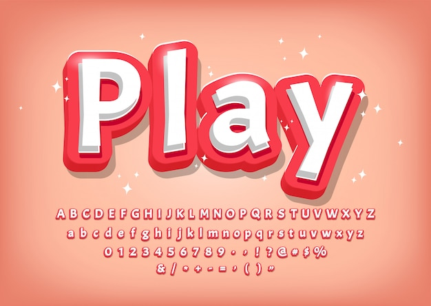 Modern 3d alphabet, comic style title, text effect for games vector illustration