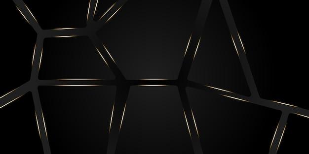光沢のある光とテクスチャパターンの装飾が施されたモダンな3dブラックとシルバーの抽象的なメタリック背景。