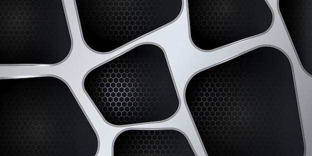 Modern 3d black and silver abstract metallic background with shiny light and texture pattern decoration.
