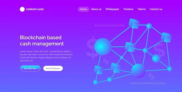 Modern 3d blockchain website hero