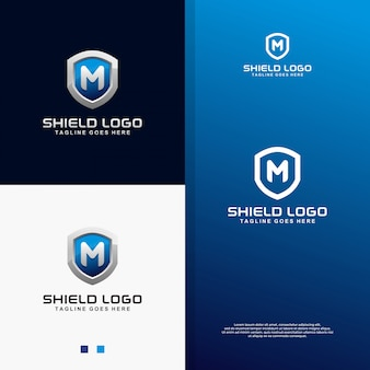 Modern 3d blue shield with letter m logo