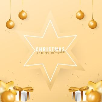 星の装飾が施されたモダンな3dクリスマスセールバナー