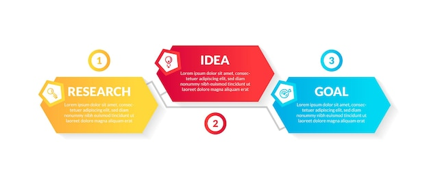 Modern 3d colorful hexagonal infographic with 3 option or step. perfect for presentation, process diagram, workflow, and banner