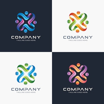 Modern 3d, connect people, community logo