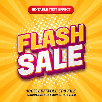 Modern 3d flash sale editable text effect