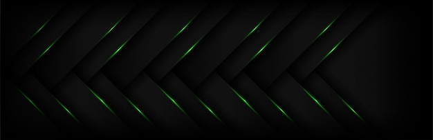 Modern 3d geometry of abstract green light arrow with dark background