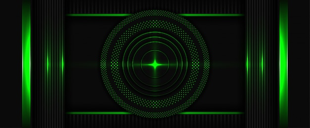 Modern 3d geometry shapes black lines with dark green abstract background with overlap layer