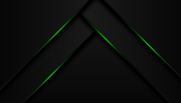 Modern 3d geometry shapes black lines with green borders on dark background