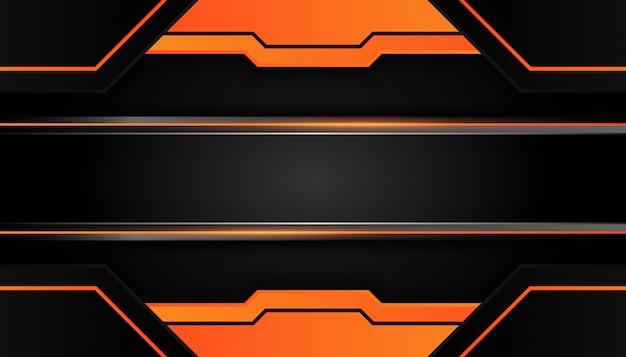 현대 3d 형상은 어두운 배경에 주황색 테두리가있는 검은 선을 형성합니다.