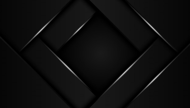 Modern 3d geometry shapes black lines with silver borders on dark background