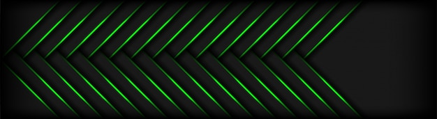 Modern 3d geometry shapes dark with green lines background