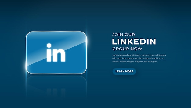 Modern 3d glass linkedin icon with join group button premium vector