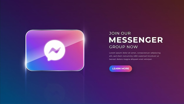 Modern 3d glass messenger icon with join group button premium vector