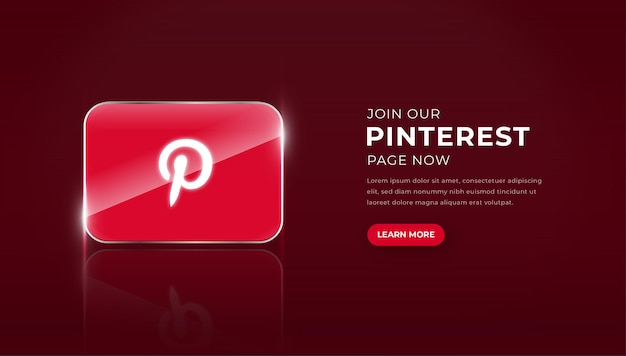 Modern 3d glass pinterest icon with join page button premium vector