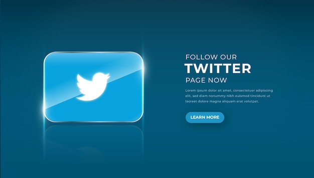 Modern 3d glass twitter icon with follow button premium vector