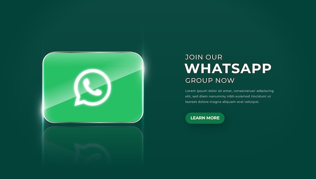 Modern 3d glass whatsapp icon with join group button premium vector