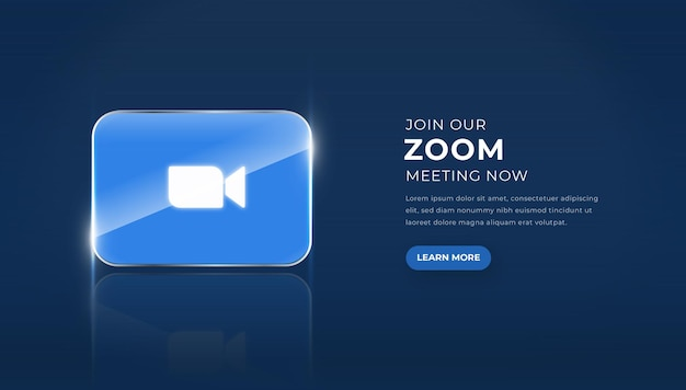Modern 3d glass zoom icon with join our meetin button premium vector