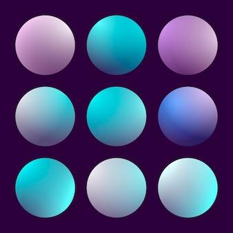 Современный набор градиента 3d с круглыми абстрактными предпосылками. красочные крышки жидкости для календаря, брошюры, приглашения, открытки. модный мягкий цвет. шаблон с круглым градиентом для экранов и мобильного приложения Premium векторы