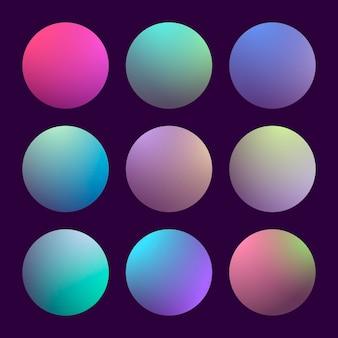 Современный набор градиента 3d с круглыми абстрактными предпосылками. цветные крышки жидкости для календаря, брошюры, приглашения, открытки. модный мягкий цвет. шаблон с круглым градиентом для экранов и мобильного приложения