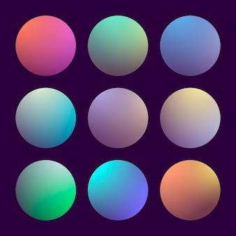 Современный набор градиента 3d с круглыми абстрактными предпосылками. красочные крышки жидкости для календаря, брошюры, приглашения, открытки. модный мягкий цвет. шаблон с круглым градиентом для экранов и мобильного приложения