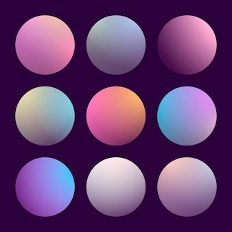 Современный набор градиента 3d с круглыми абстрактными предпосылками.