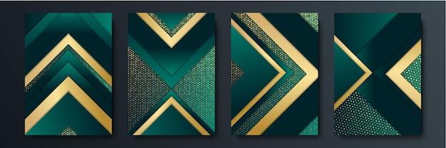 プレゼンテーションデザインのためのモダンな3d緑の暗い背景。プレゼンテーション、バナー、表紙、ウェブ、チラシ、カード、ポスター、壁紙、テクスチャ、スライド、雑誌、およびパワーポイントのベクトルイラストデザイン。