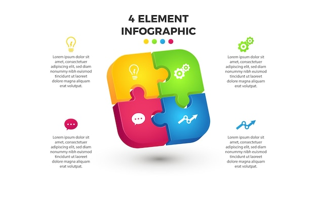 Modern 3d infographic puzzle, 4 component elements or step for presentation and marketing